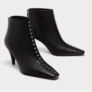 Zara Black Leather Studded Ankle Boots Sz 9